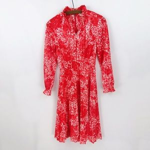 Vintage 70s Hawaiian Floral Ruffle Pleated Dress
